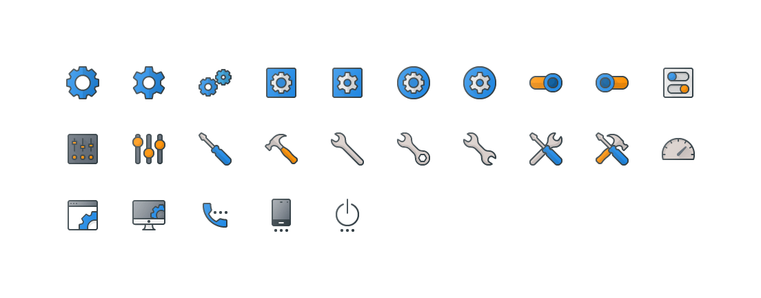 Settings Colored Outline Icons