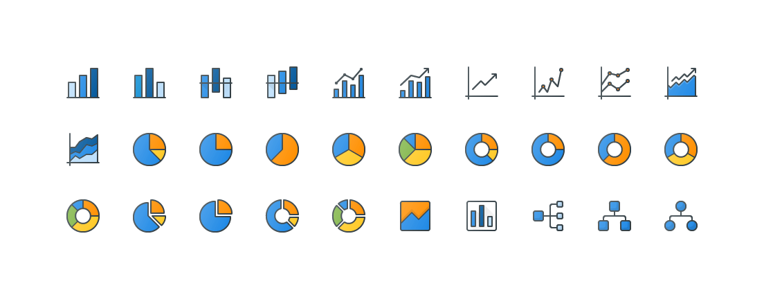 Charts & Infgraphic Colored Outline Icons