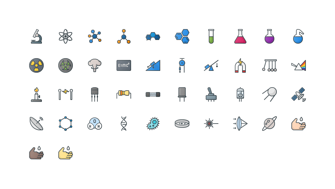 Science Colored Outline Icons