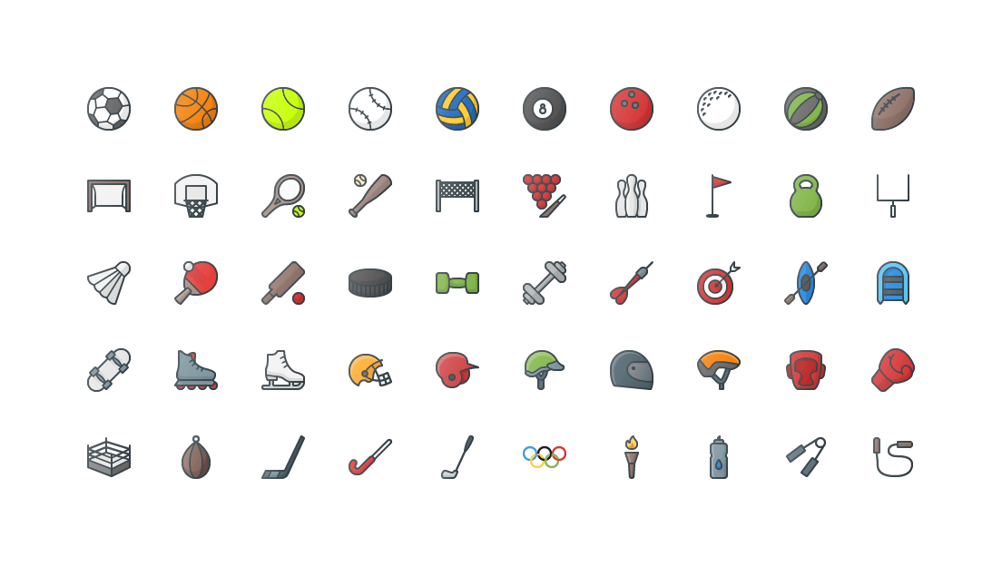 Sports Colored Outline Icons