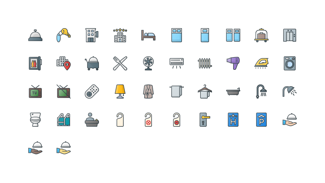 Hotel Colored Outline Icons