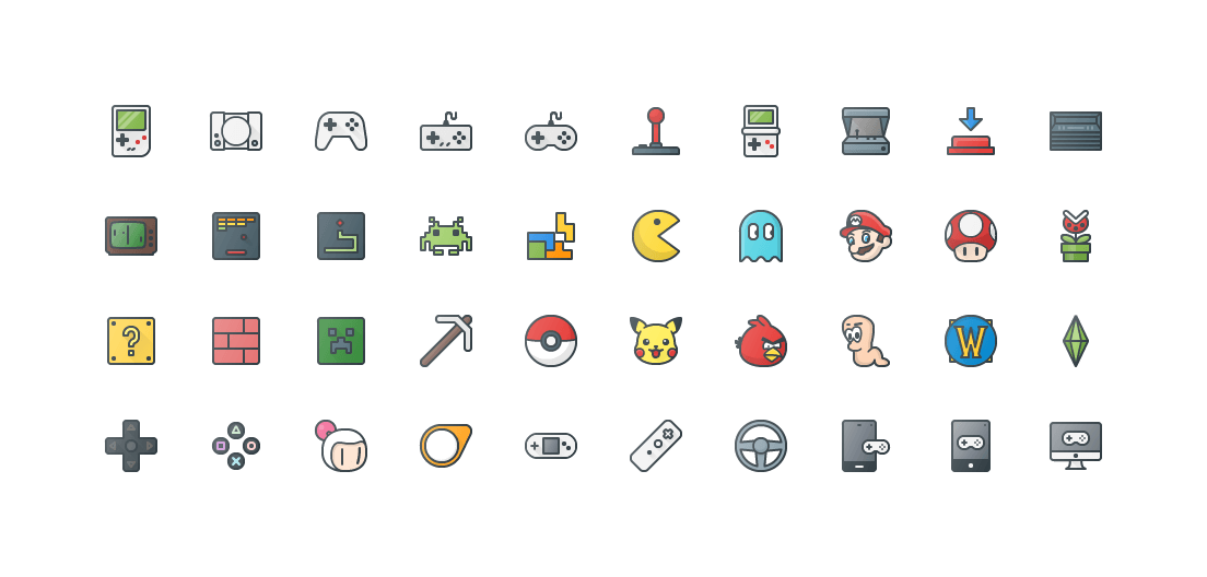 Video Games Colored Outline Icons