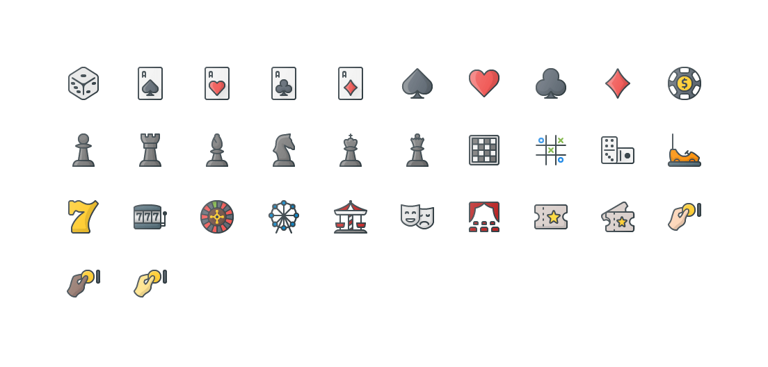 Casino & Leisure Colored Outline Icons