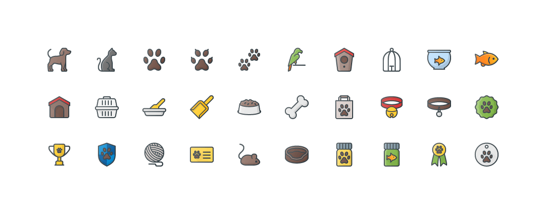 Pets & Accessories Colored Outline Icons