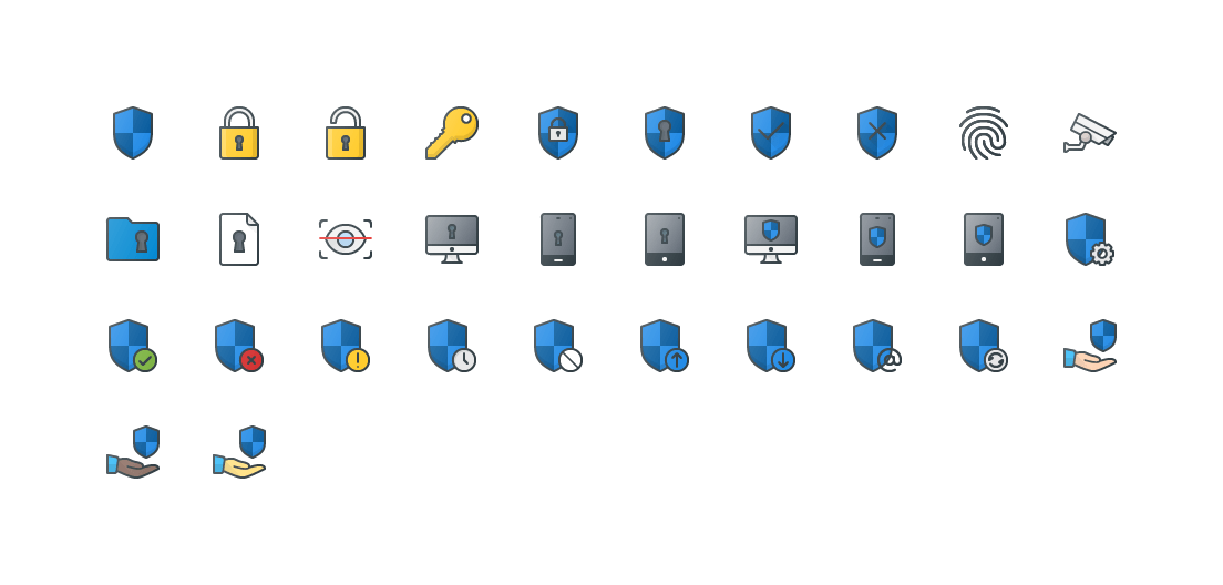 Security Colored Outline Icons