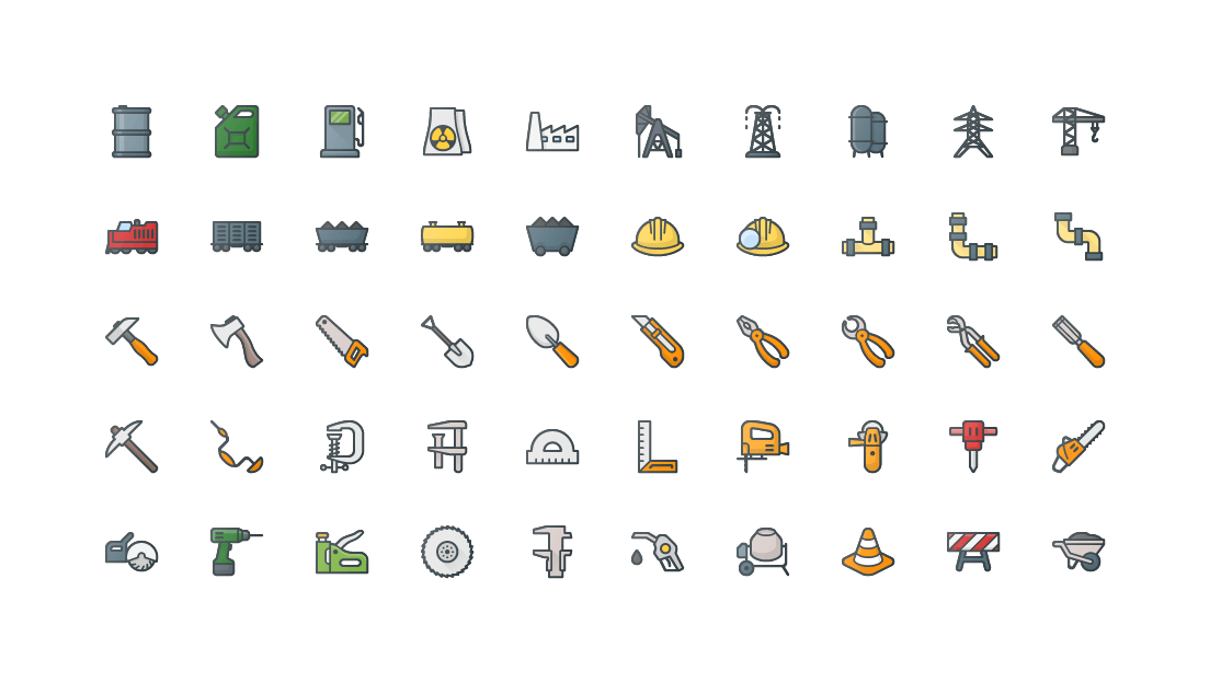 Construction & Industry Colored Outline Icons