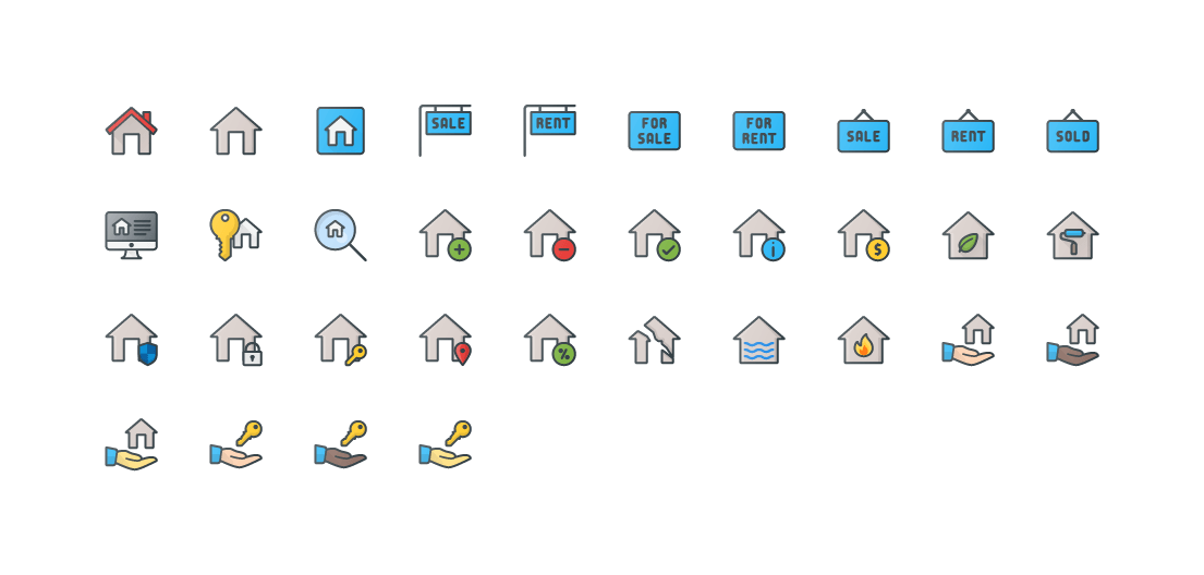 Real Estate Colored Outline Icons