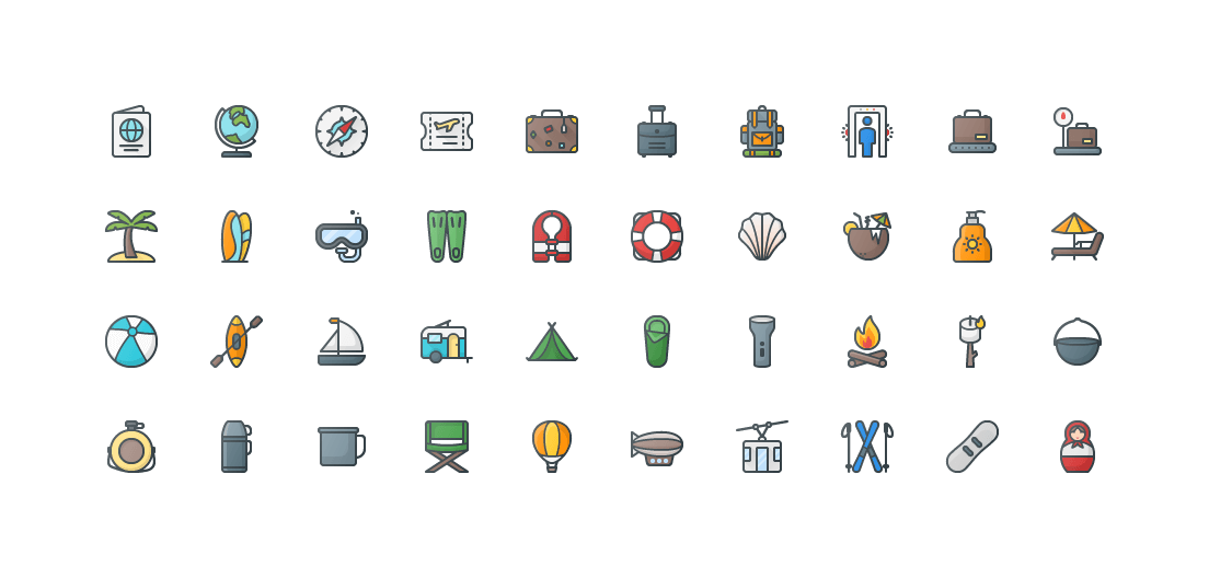 Travel & Tourism Colored Outline Icons
