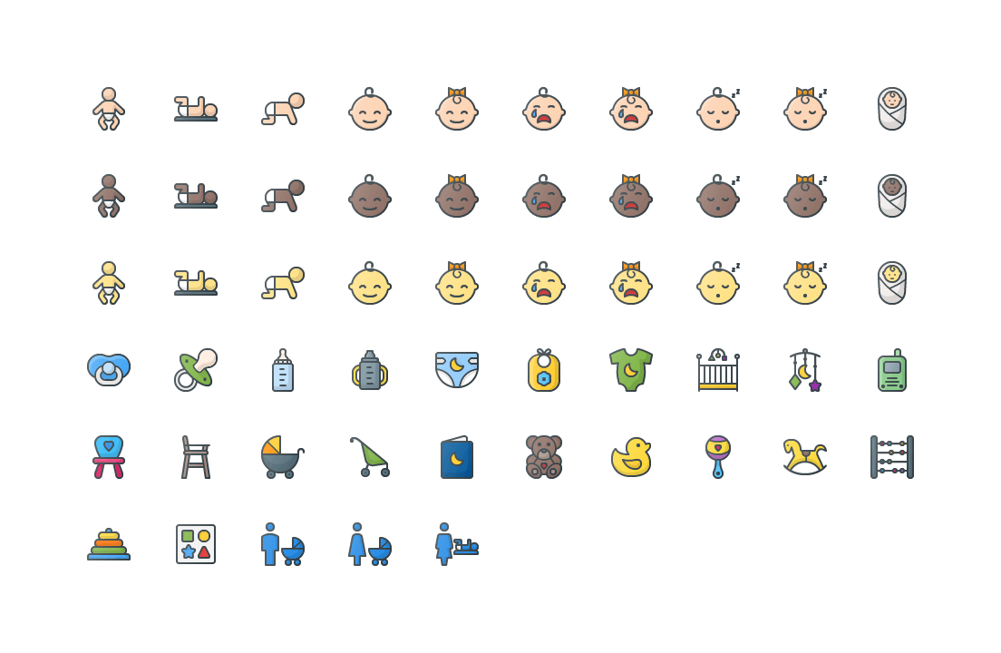 Baby & Children Colored Outline Icons