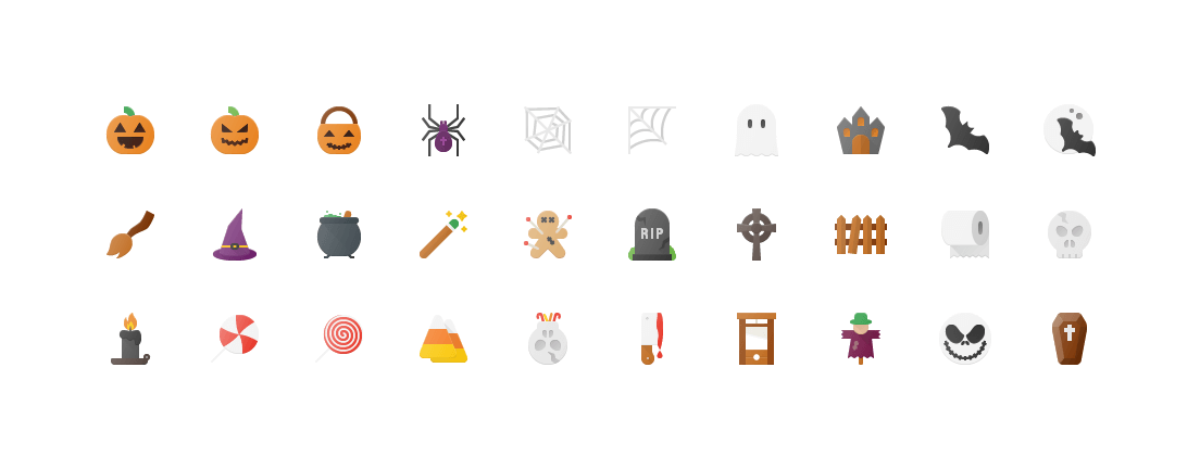 Free Flat Halloween Icons