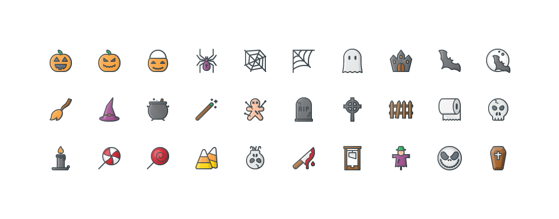 Free Color Outline Halloween Icons